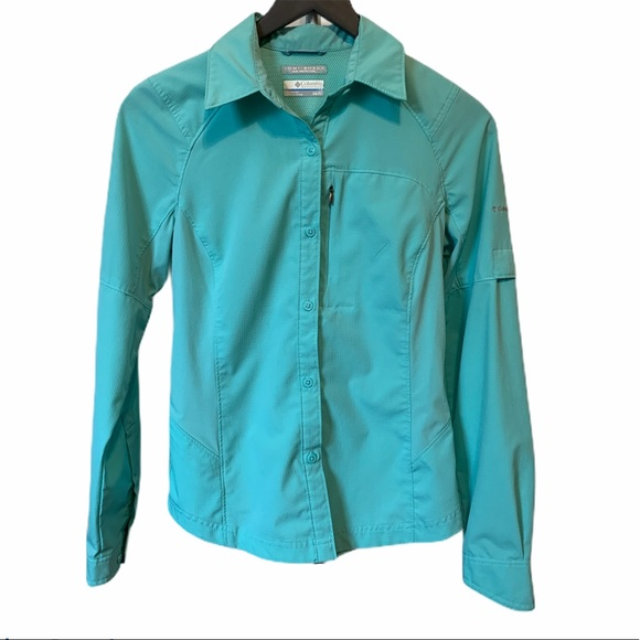Columbia Omni-Shade button-up XS teal